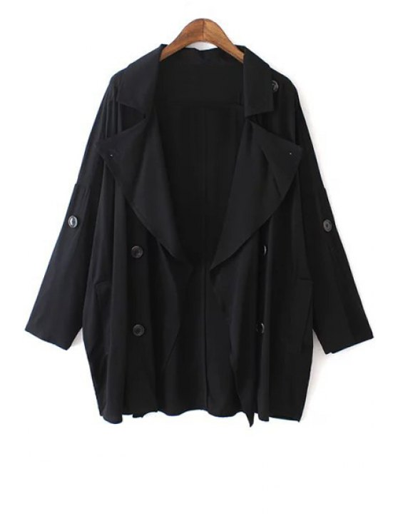 outfits Solid Color Loose-Fitting Trench Coat - BLACK L