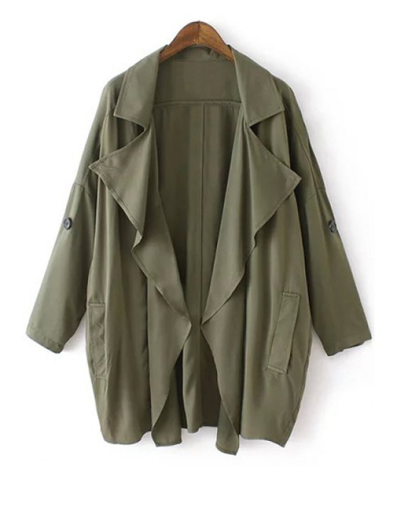 shops Solid Color Loose-Fitting Trench Coat - GREEN S