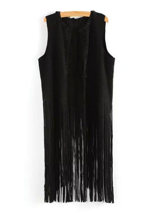 latest Solid Color Tassels Waistcoat - BLACK M