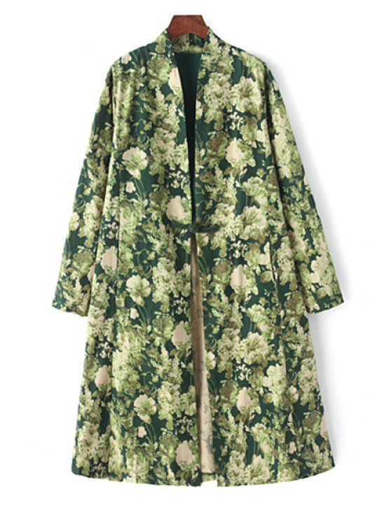 hot Full Floral Long Sleeve Collarless Coat - GREEN M