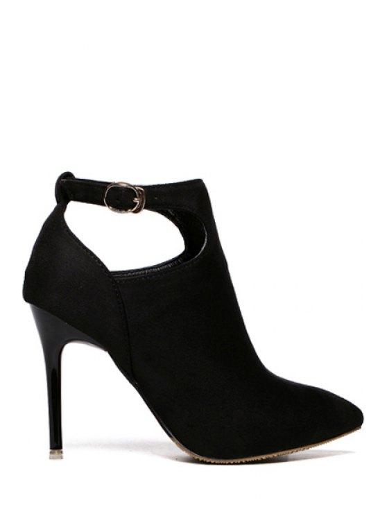 shops Suede Buckle Solid Color Ankle Boots - BLACK 34