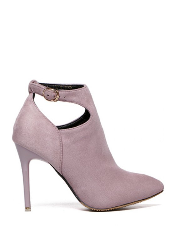 outfit Suede Buckle Solid Color Ankle Boots - GRAY 39