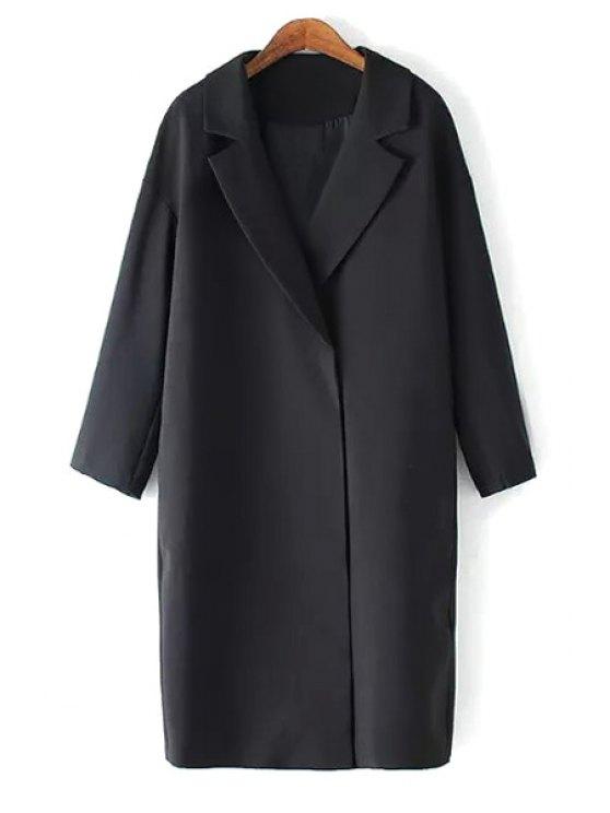 sale Solid Color Lapel Long Sleeve Maxi Blazer - BLACK M