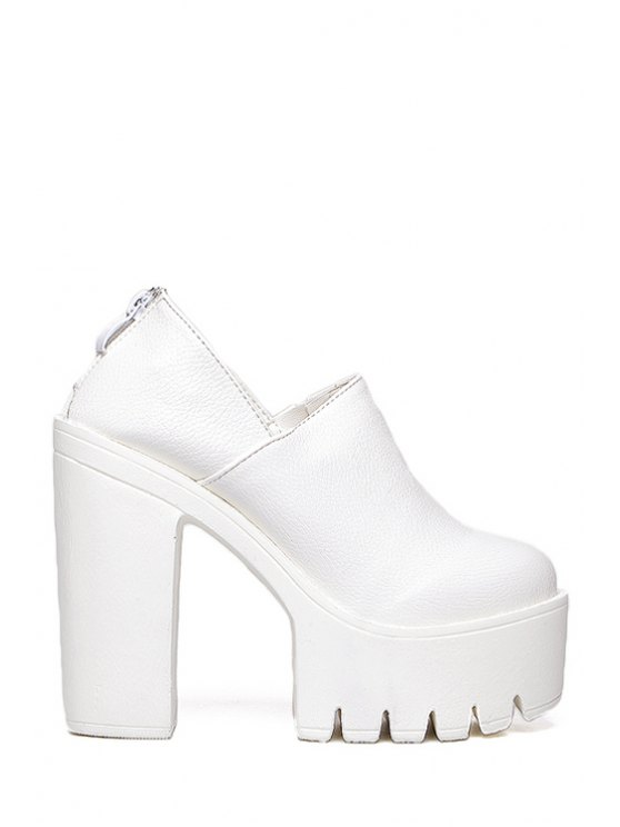 lady Platform Chunky Heel Solid Color Pumps - WHITE 35