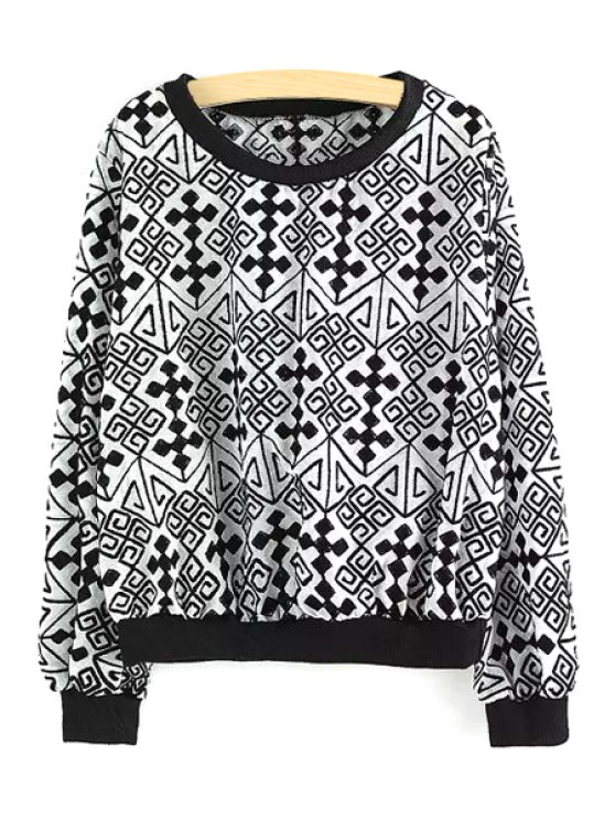 shop Geometric Pattern Long Sleeve Sweatshirt - WHITE ONE SIZE(FIT SIZE XS TO M)