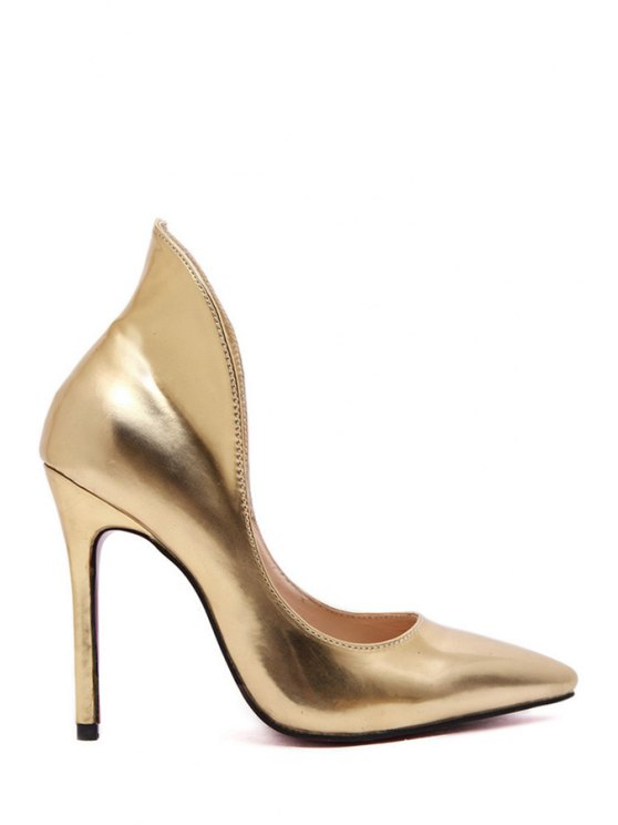 outfit Solid Color Stiletto Pointed Toe Pumps - GOLDEN 35