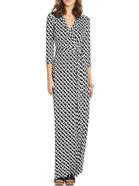 shop Geometric Print V Neck 3/4 Sleeve Maxi Dress - WHITE AND BLACK XS