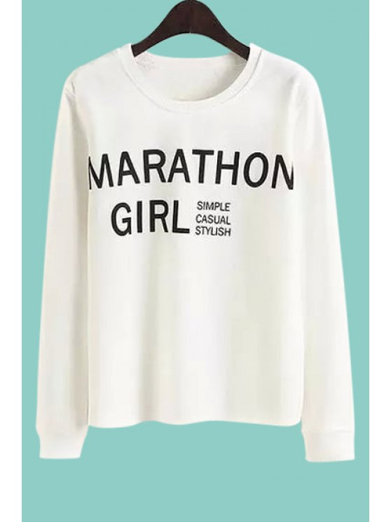 latest Letter Print Loose-Fitting Long Sleeves Sweatshirt - WHITE M