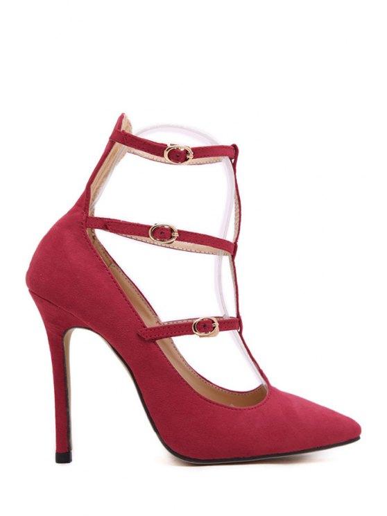 ladies Suede T-Strap Solid Color Pumps - RED 35