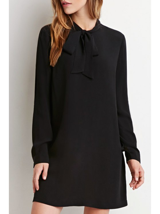 affordable Chiffon Self Tie Stand Neck Long Sleeve Dress - BLACK S