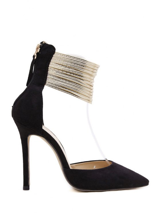 outfits Two-piece Metal Solid Color Pumps - BLACK 40