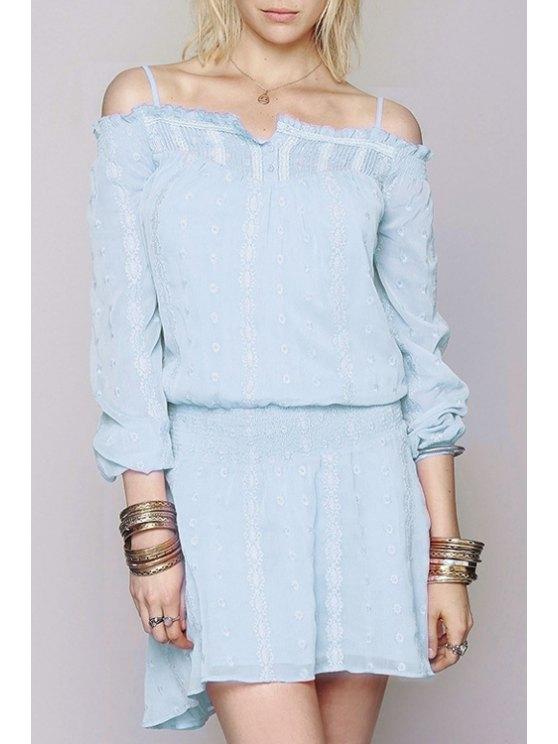 fancy Off-The-Shoulder Embroidered Dress - LIGHT BLUE S