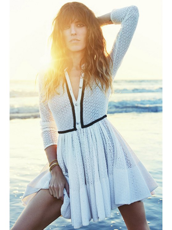 affordable Long Sleeve Openwork Lace Dress - WHITE S