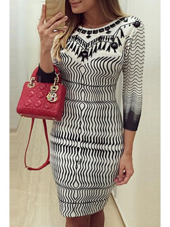 womens Striped Bodycon Midi Dress - WHITE AND BLACK S