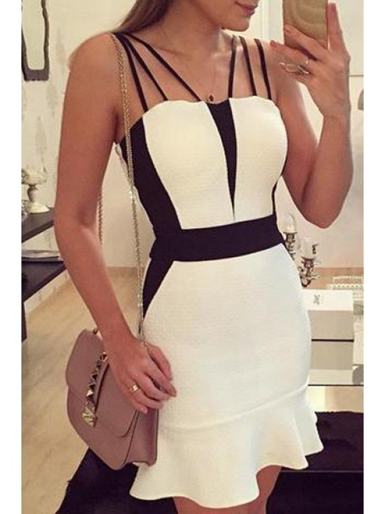 women Spaghetti Strap Packet Buttocks Prom Dress - WHITE S
