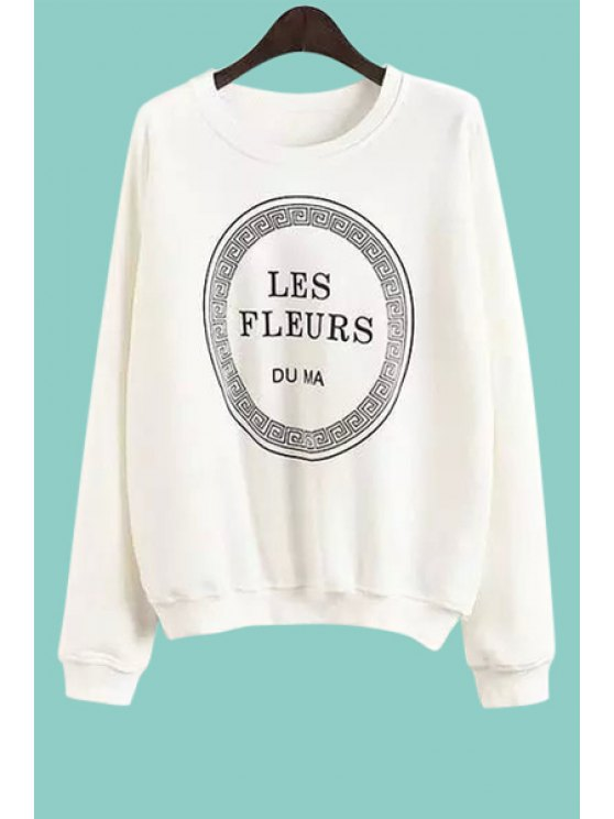outfit Letter Print Round Collar Long Sleeves Sweatshirt - WHITE S