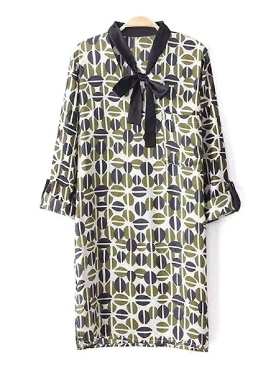 new Long Sleeve Bowknot Printed Dress - GREEN S