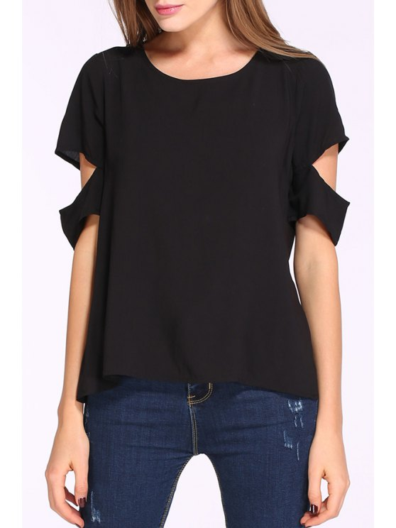 hot Cut Out Half Sleeves Solid Color Blouse - BLACK S