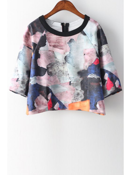 buy Scoop Neck Colorful Ink Print 3/4 Sleeve T-Shirt - COLORMIX ONE SIZE(FIT SIZE XS TO M)