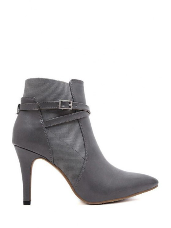 shop Cross Straps Buckle Solid Color Ankle Boots - GRAY 34