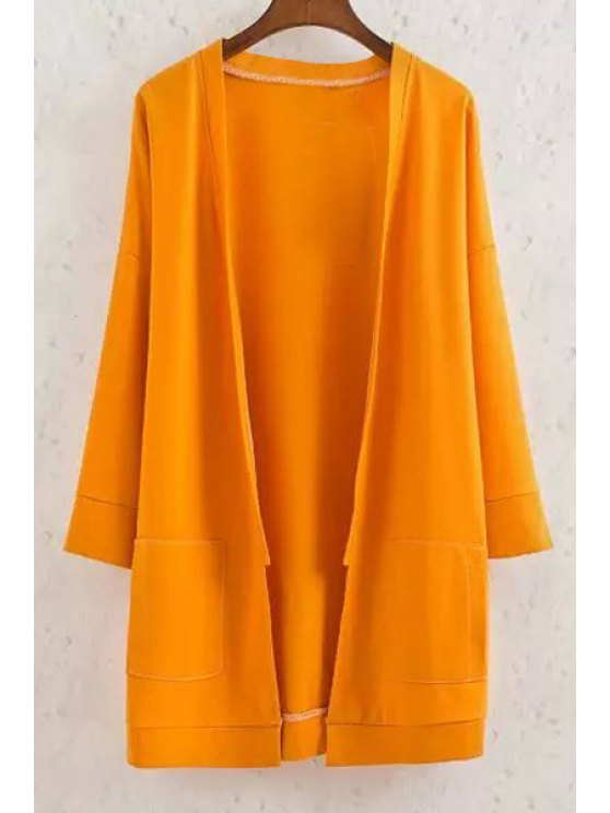 ladies Long Sleeve Solid Color Coat - YELLOW S