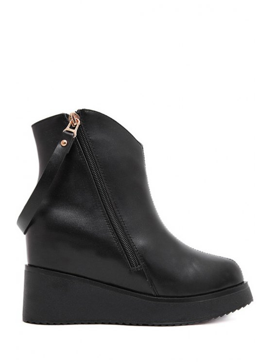 fashion Rivets Zipper Solid Color Ankle Boots - BLACK 37
