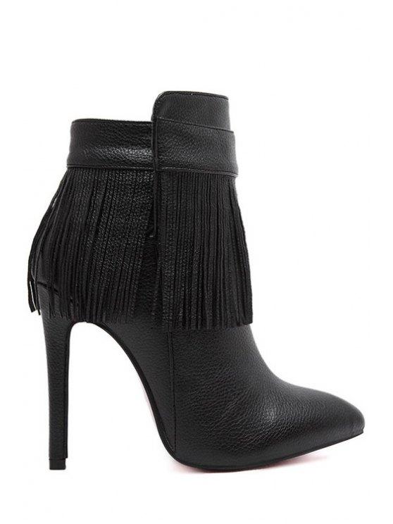 women's Fringe Zipper Solid Color Ankle Boots - BLACK 35