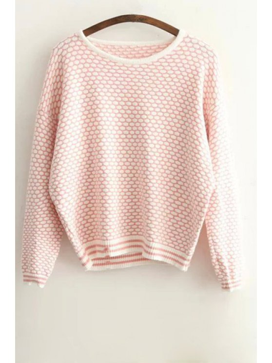 women's Tiny Plaid Pattern Long Sleeve Sweater - PINK ONE SIZE(FIT SIZE XS TO M)