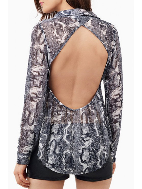 affordable Snake Print Turn Down Collar Long Sleeve Shirt - AS THE PICTURE S