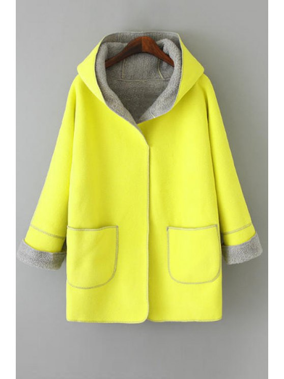 chic Hooded Fleece Lining Coat - YELLOW ONE SIZE(FIT SIZE XS TO M)