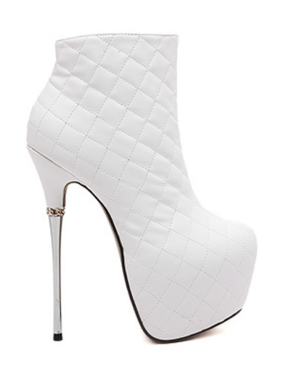 ladies Checked Solid Color Stiletto Ankle Boots - WHITE 35