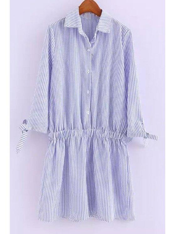 fashion Shirt Collar Striped Elastic Waist Dress - BLUE S