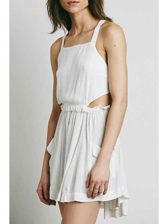 outfit Pure Color Square Neck Sleeveless Dress - WHITE XL