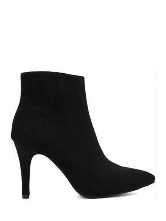 buy Suede Zipper Solid Color Ankle Boots - BLACK 34