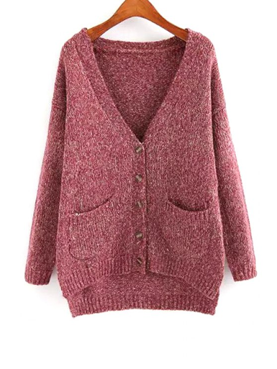 trendy Stylish V-Neck Long Sleeve Single-Breasted Loose-Fitting Women's Cardigan - PURPLISH RED ONE SIZE(FIT SIZE XS TO M)