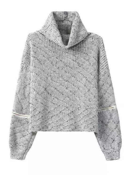 shops Turtle Neck Zippers Embellished Long Sleeve Sweater - GRAY ONE SIZE(FIT SIZE XS TO M)