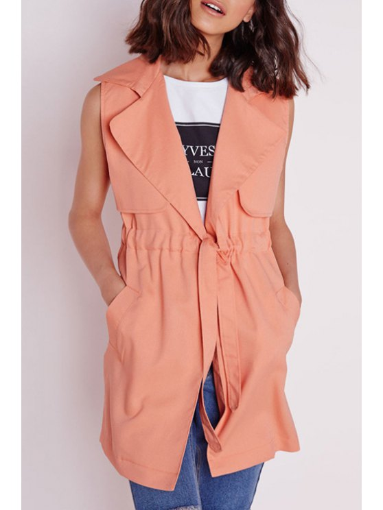 ladies Solid Color Lapel Neck Sleeveless Trench - ORANGEPINK S