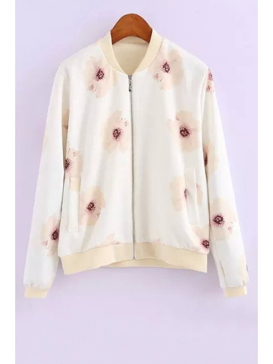 outfit Stand Neck Floral Print Jacket - OFF-WHITE S