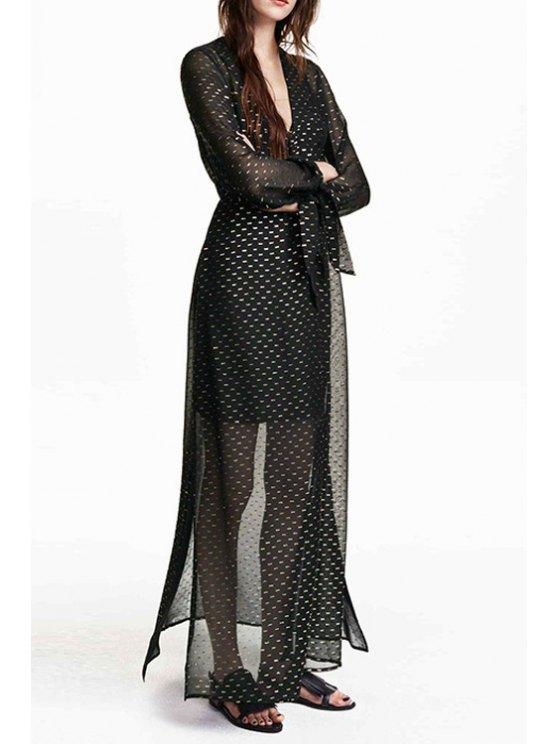 online Spun Gold Plunging Neck Long Sleeve Maxi Dress - BLACK S