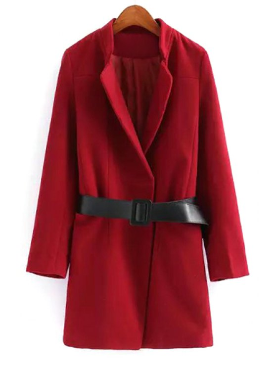 sale Lapel Solid Color Belted Coat - WINE RED S