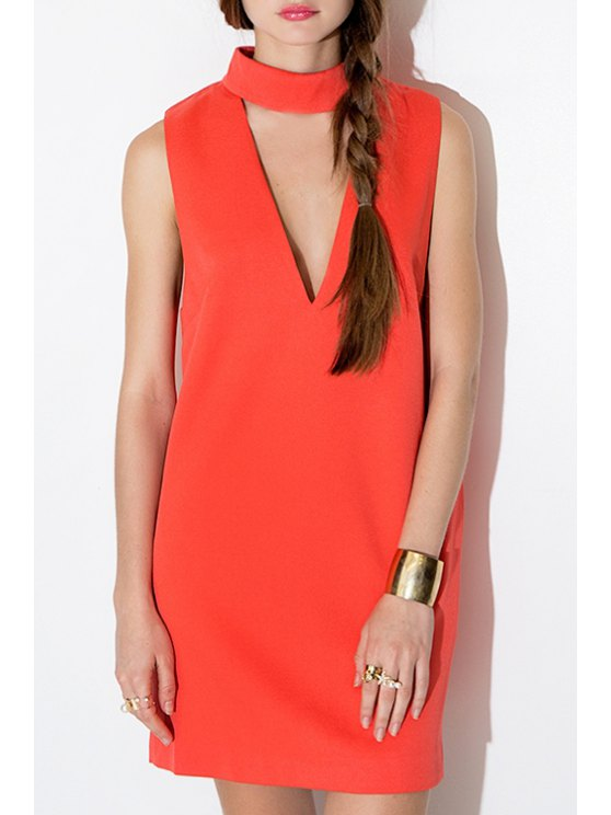 women Cut Out Stand Neck Sleeveless Dress - ORANGE RED S