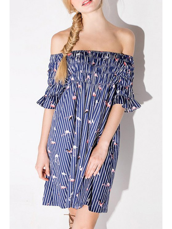 sale Flamingo Print Slash Neck Half Sleeve Dress - AS THE PICTURE 2XL