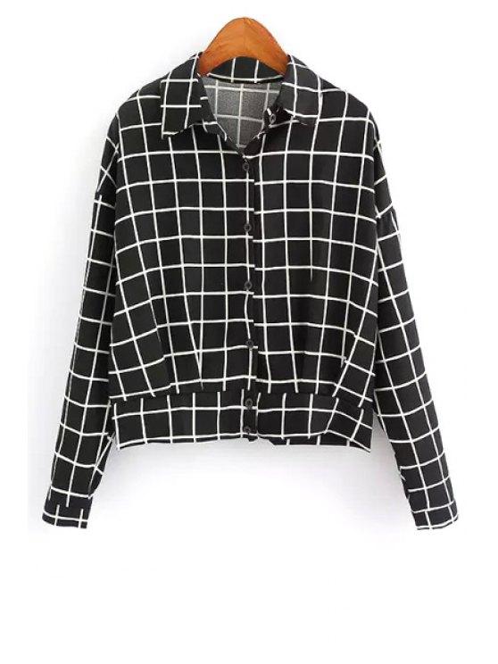 fashion Turn-Down Collar Plaid Jacket - BLACK S