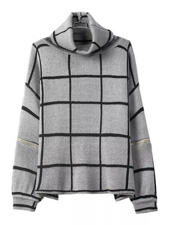unique Turtle Neck Color Block Plaid Long Sleeve Sweater - GRAY ONE SIZE(FIT SIZE XS TO M)