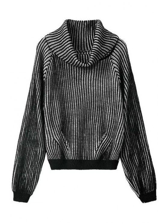 fancy Turtle Neck Black White Stripe Sweater - WHITE AND BLACK ONE SIZE(FIT SIZE XS TO M)
