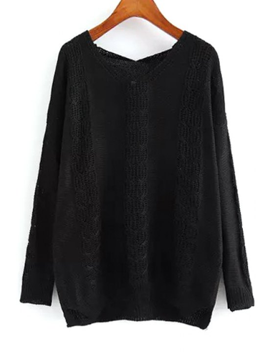 women Openwork Loose-Fitting Sweater - BLACK ONE SIZE(FIT SIZE XS TO M)