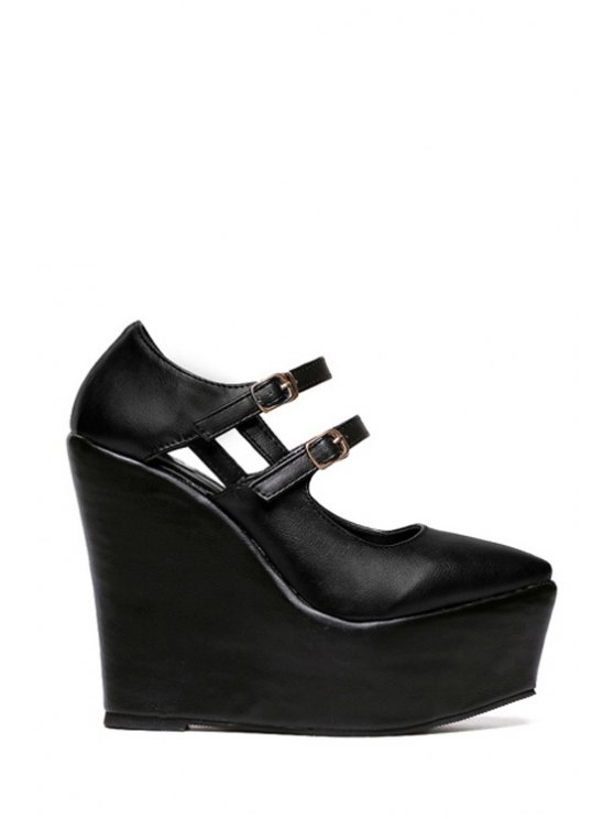 online Pointed Toe Buckle Solid Color Wedge Shoes - BLACK 34