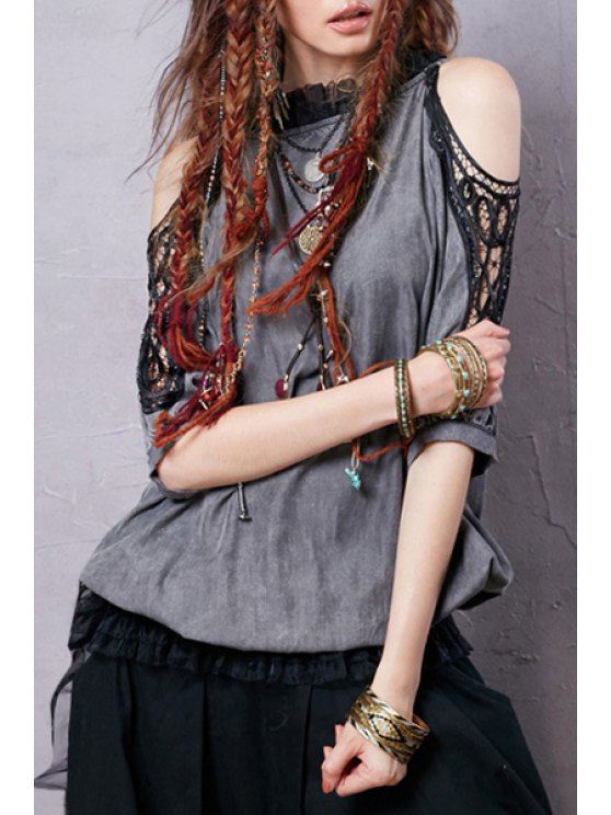 online Ruff Collar Voile Lace Splicing Half Sleeve Blouse - GRAY S