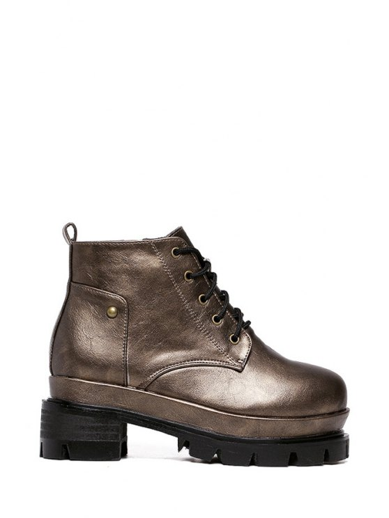 online Lace-Up Rivets Solid Color Ankle Boots - BRONZE-COLORED 35