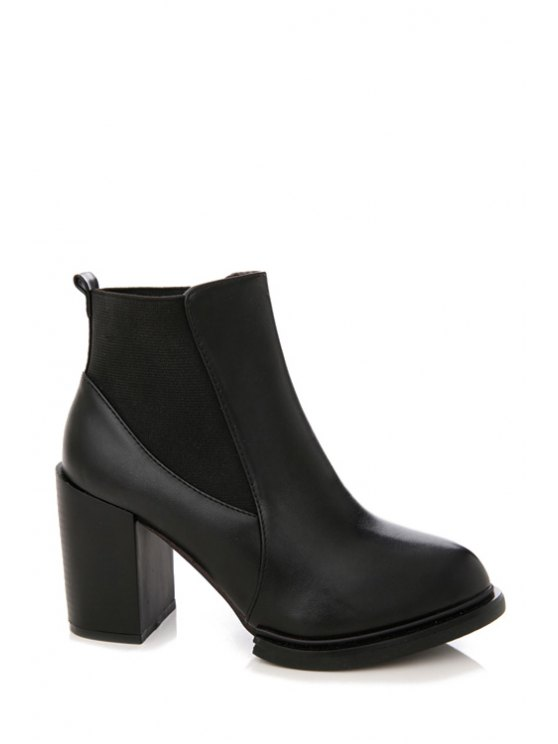 affordable Splicing Elastic Solid Color Ankle Boots - BLACK 35